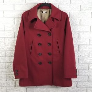 J Crew Double Breasted Peacoat S Dark Red Wool